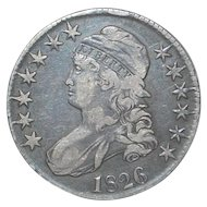 U S Half Dollar Capped Bust Liberty Silver Coin - 1826 - XF