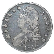 U S Half Dollar Capped Bust Liberty Silver Coin - 1826