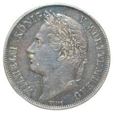 German States Wuttemberg Silver Gulden Coin - 1841