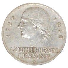 German Lessing 3  Reichsmark Silver Coin - 1929 - A