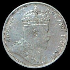 English Straits Settlement One Dollar Silver Coin - 1904 - B - AU Details