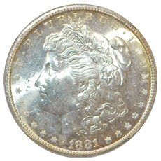 United States Morgan Dollar, 1881-S, MS-62 - Slabbed