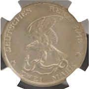 """German Two Mark """"Prussia - Napoleon Defeat"""", 1913 - A , MS-63 - Slabbed"""