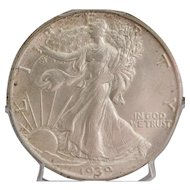 United States Fifty Cent Walking Liberty Coin - 1939-S, MS-62, Slabbed
