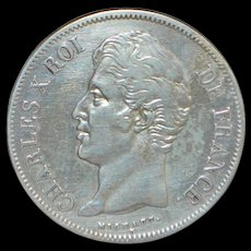 French 5 Francs Silver Coin - 1828 -W- Crown -XF
