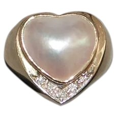 14K Heart Shaped Mabe Pearl and Diamond Ring - 1980's