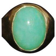 14K Large Man's Apple Green Jade Ring - 1970's