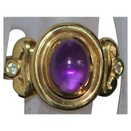 14k Etruscan Style Amethyst and Diamond Ring - 1980's