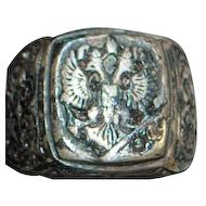 Russian Czarist Era Man's Signet Ring - 1880's