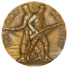 """For God & Country"" Bronze Medallion, R. Tait McKenzie - 1922"