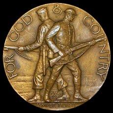 """For God & Country"" Bronze Medallion, R. Tait McKenzie - 1922"