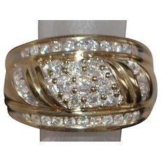 14K Fine Diamond Pave Diamond Dome Ring - 1980's