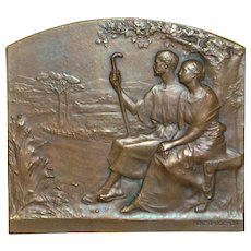 French Bronze Art Medallion Plaque- Rene Baudichon, Artist
