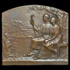 French Bronze Art Medallion Plaque- Rene Baudichon, Artist
