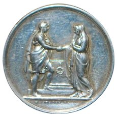 French Silver Wedding Vow Token - 1890