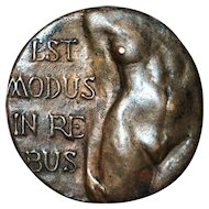 French Art Deco Nude Art Bronze Medallion