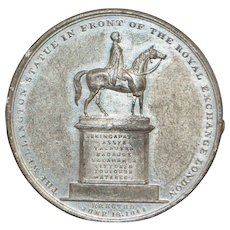 London Royal Exchange and Wellington Statue Token - 1844
