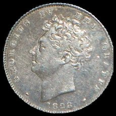 English George IV Six Pence Silver Coin - 1828