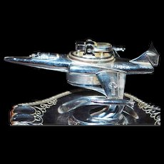 Chrome F-104A Fighter Jet Lighter and Stand - Late 1950's