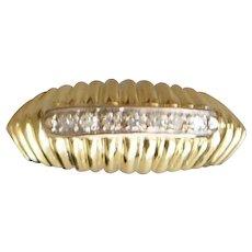 18K Italian  Diamond Dome Ring - 1960's
