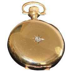14k American Gold and Diamond  Hunting Case Pocket Watch - 1912