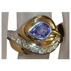 14K Pear Shaped Tanzanite and Diamond Ring - 1980's