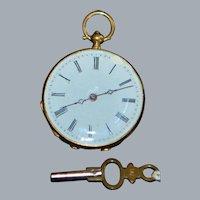 18K Swiss Open Face Pocket Watch - 1890