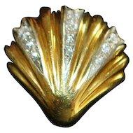 Pair of 18K Diamond Shell Earrings - 1970's