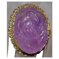 14K Large Chinese Carved Amethyst Ring - 1960's