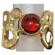 14K Italian Modernist Garnet Ring