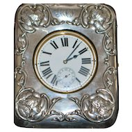 Swiss Sterling Silver Table Clock - 1905