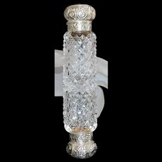 English Victorian Double Cut Glass and Sterling Perfume - 1888
