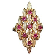 14k Large Florentine Ruby Cocktail Ring - 1960's