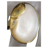 14K Large Mother-of-Pearl and Diamond Ring