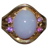 14K Lavender Jade and Amethyst Ring - 1960's