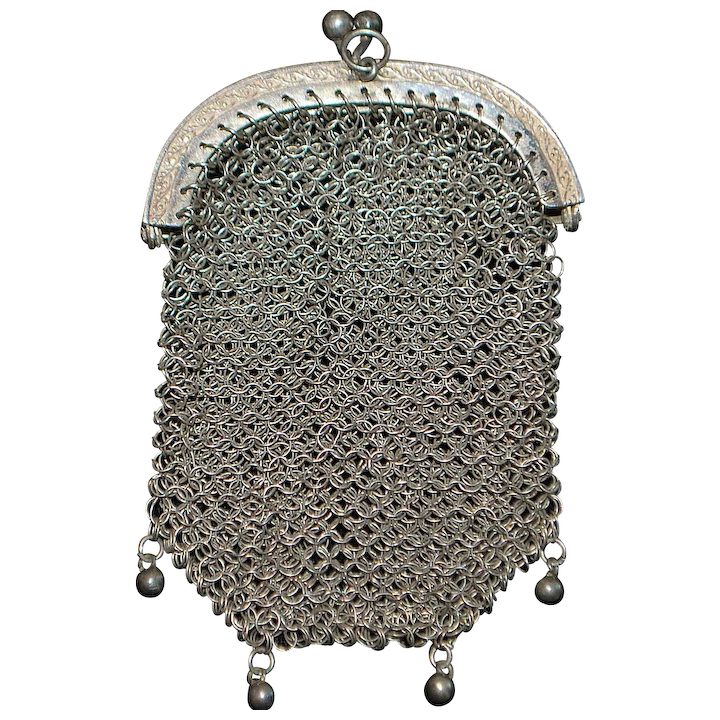 Solid Silver 19th Century French Silver Chatelaine Purse