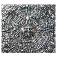 Large Mexican Sterling Silver Aztec Calendar Brooch - 1970's