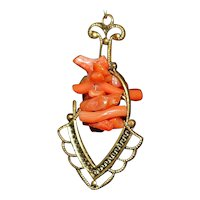 Victorian Gold Filled Coral Dangle Earrings - 1890's