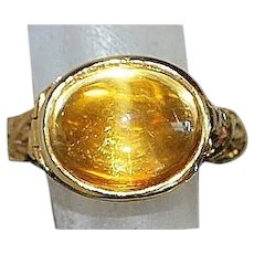 14K Cabochon Citrine Poison Ring - 1970's