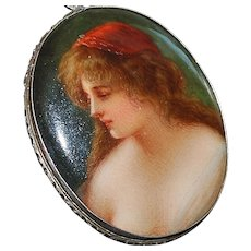 800 Silver Firenze Hand Painted Porcelain Brooch - 1920