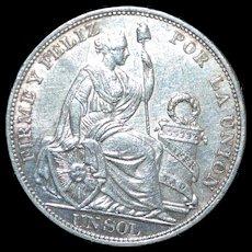Large Peru Silver Un Sol Crown Coin - 1893TF - UNC