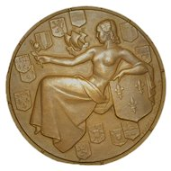 "French Art Deco Ocean Liner Bronze Medal ""Ile De France"""