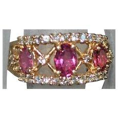 14K Pink Tourmaline and Diamond Ring