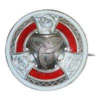 Scottish Heraldic Sterling Silver and Enamel Brooch - 1915