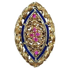 14K Italian Ruby and Cobalt Blue Enamel Ring  - 1960's