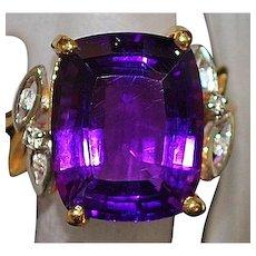 14K Amethyst and Diamond Ring - 1980's