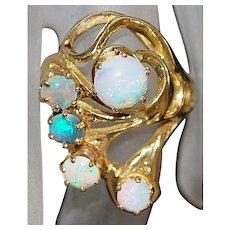 14K Large Custom Opal Ring - 1970's