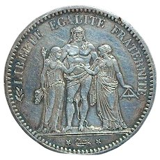 French Silver Five Franc Coin - 1873 -A