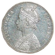 Indian Silver One Rupee Coin - 1892 - B - UNC