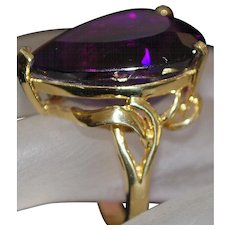14K Large Pear Shaped Amethyst Ring - 1980's